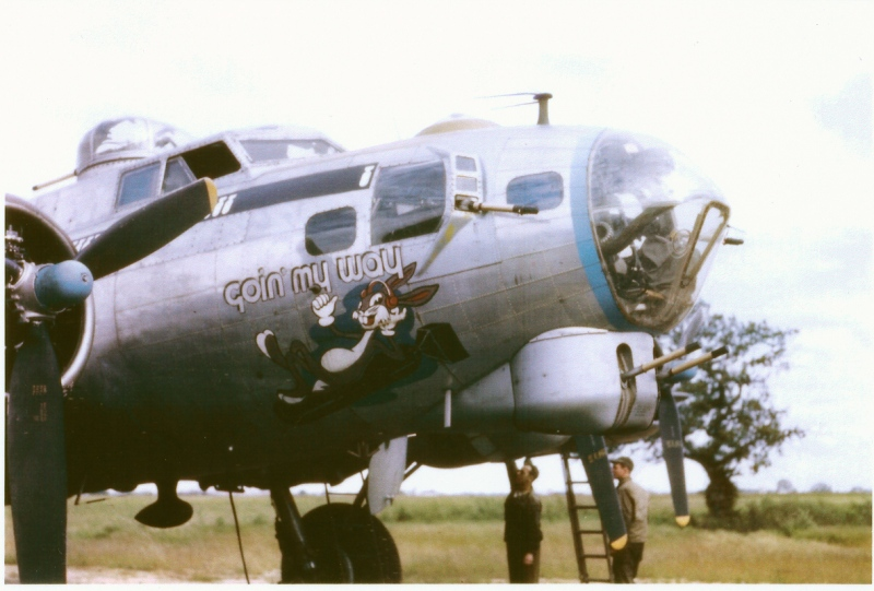 original WWII Color Photo of the B-17 'Goin My Way' aircraft - photo found at: 100th Bomb Group Foundation website