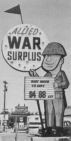 Old Army Surplus Store Sign for Allied War Surplus, Salt Lake City, Utah, 1964