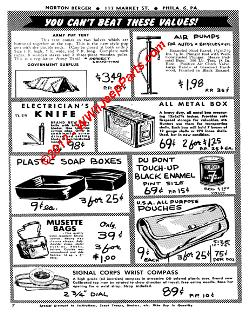 Collection of circa 1942-1947 Army Surplus Store Catalog prices