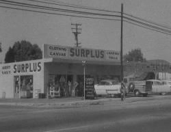 Army Navy Surplus Store in Garden Grove, CA in the 1950's