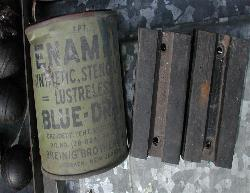 WWII Can of Blue Drab Lustreless Stencil Paint and Ford Early Rubber Hood Blocks~ WW2 MB GPW Jeep