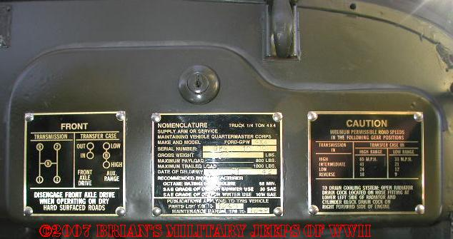 Archive Willys Overland and Ford Jeep Serial Number Page
