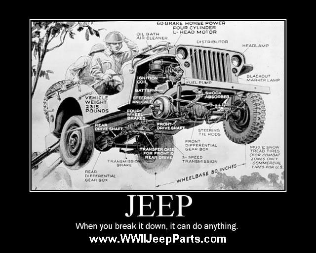 Real Jeeps have Round Headlights, Folding Windshields, and can tow a cannon - When you break it down, they can do anything.