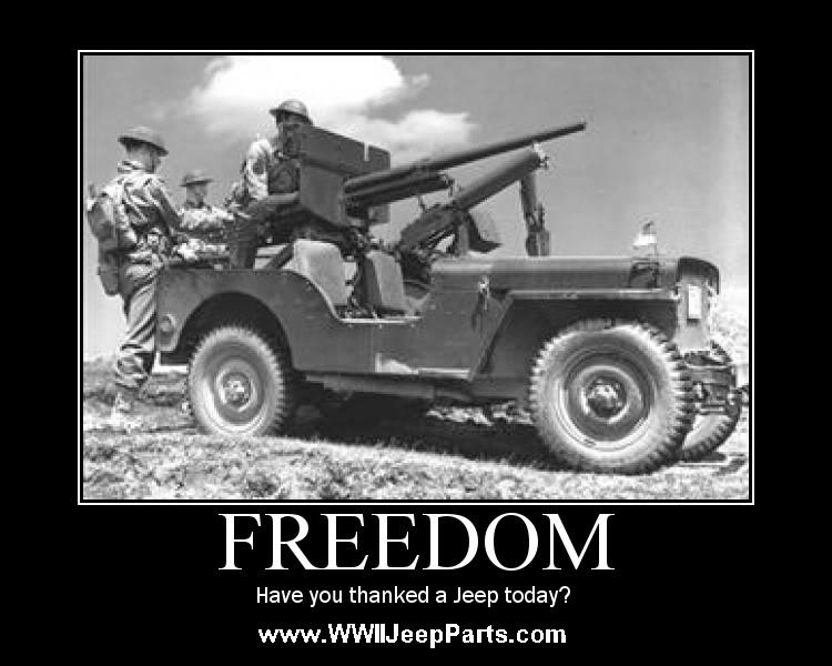 Real Jeeps are Olive Drab and have Round Headlights - Have you thanked one laely for your freedom?
