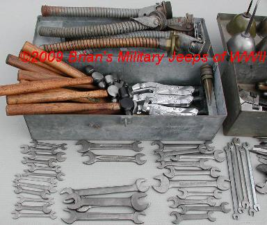 Collection of WWII MB/GPW Jeep Tools, Army Vehicle Mechanic's Tools & Tool Boxes