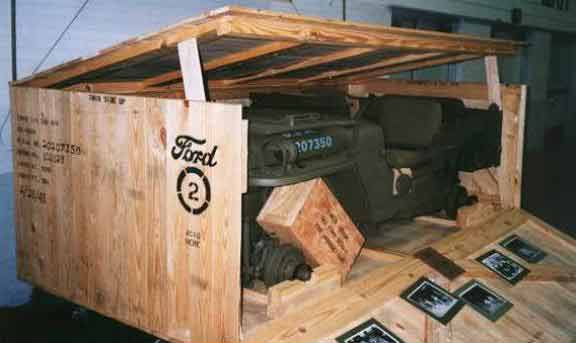 WWII Ford GPW Jeep in a reproduction SUP Crate