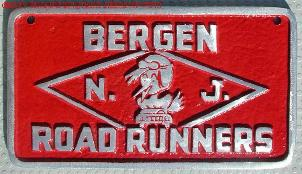 NOS 'Road Runners' Bergen, NJ car club plaque