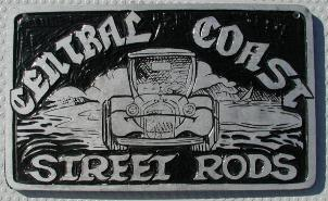 NOS 'Central Coast Street Rods' California car club plaque