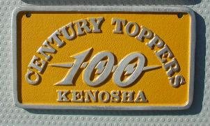 NOS 'Century Toppers' Kenosha, WI car club plaque