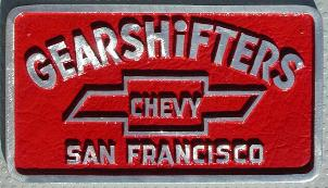 NOS 'Gearshifters - Chevy' San Francisco, CA car club plaque