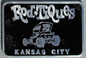 NOS 'Rod Tiques' Kansas City, MO car club plaque
