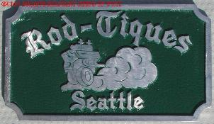 NOS 'Rod Tiques' Seattle, WA car club plaque