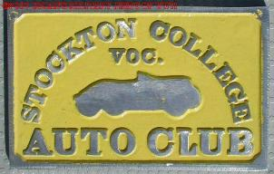 NOS 'Stockton Voc. College Auto Club' Stockton, CA car club plaque