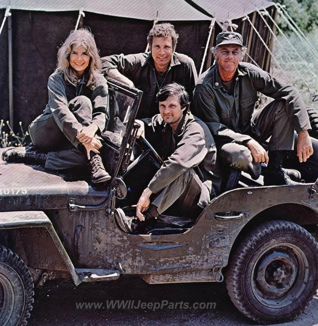 M*A*S*H -  The WWII MB/GPW Jeep of the 4077th MASH (Mobile Army Surgical Hospital) with Major Margaret J. Hot Lips Houlihan, Captain Benjamin Franklin Hawkeye Pierce, M.D, Captain Trapper John Francis Xavier McIntyre, M.D., and Lieutenant Colonel Henry Braymore Blake, M.D.