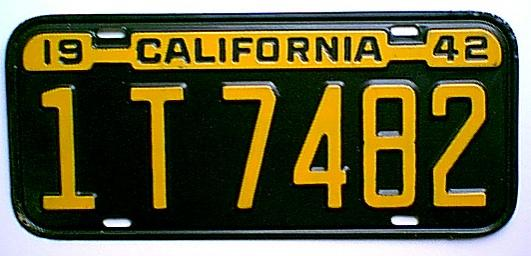 1939 1946 California Wwii Era License Plate Page