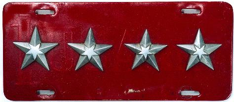 US Military 4-Star Army General MacArthur's Restamped License Plate