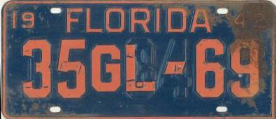 1942 Florida Restamped License Plate