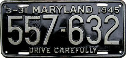 1945 Maryland Restamped License Plate
