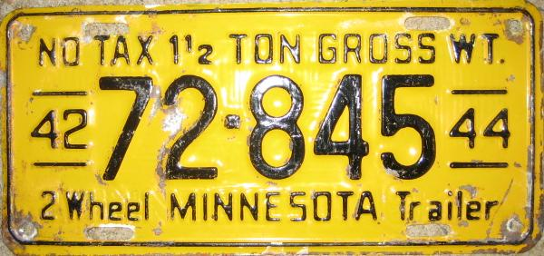 1944 Minnesota Restamped License Plate