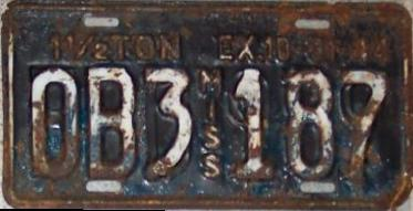 1944 Mississippi Overstamped License Plate