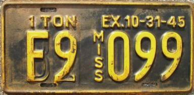 1945 Mississippi Overstamped License Plate