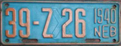 1940 Nebraska Restamped License Plate