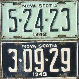 1942 and 1943 Nova Scotia Canada Restamped License Plate