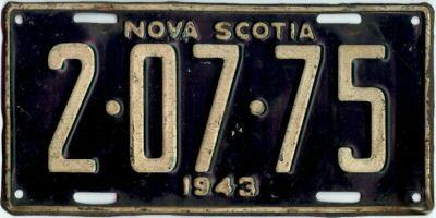1943 Nova Scotia Canada Restamped License Plate