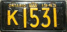 1942 1943 Ontario Canada Restamped License Plate