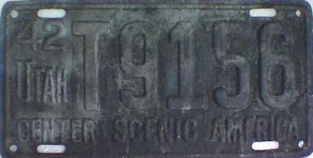 1942 Utah Restamped License Plate