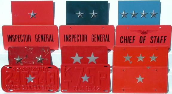 WWII General Rank License Plates