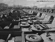 Rows of GPA's in a  car park in WWII.