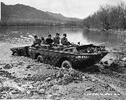 FORT CARSON, Colo. -- Officers train in a Ford GPW Jeep in a lake that used to fill Ironhorse Park. Built in 1942 and 1943, the amphibious vehicle was referred to as a Jeep in a bathtub.