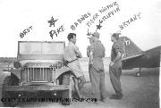 Garriott Group Willys MA. A cluster of pilots talking to the guys in the jeep by the tail of one of the planes. The info in ink was a pilot's name over