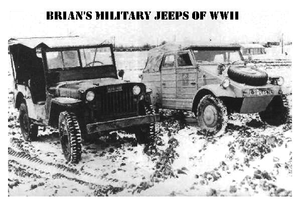 Early Willys Slatgrill MB with a Afrika Korps Kubelwagen in less than warm conditions