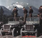 WWII color photo of jeeps of the 327th Glider Infantry Regiment of the 101st Airborne Division.