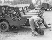 The already famous jeeps, a string of which are shown here, are kept in perfect running order at the field motor pool Camp Shelby, Mississippi. 7/1943