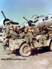 The Crew members of a B-17 in jeep pose for shot in July of 1944. All but three were killed on August 2, 1944.