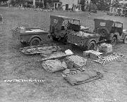 Jeeps, Jeep Trailers, and Medical equipment for combat use of an infantry battalion aid station on Oahu, TH.