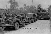 Jeeps and Jeep Trailers used for transportation of personnel & equipment of 2nd Auxiliary Surgical Group teams in Italy.