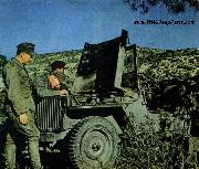 German soldiers of the Afrikakorps examining a captured allied Jeep. Tunisia, 1943