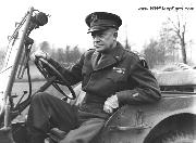 Gen. Eisenhower Driving a Jeep in England. 12-1-1944.  Notice device hanging from top of windshield - PA mircophone?