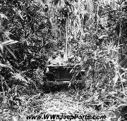 February 2, 1943: An American jeep proceeds along a trail through the jungle on Guadalcanal, Solomon Islands during World War II.