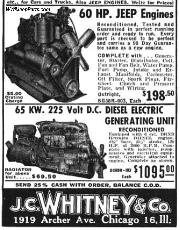 WWII MB/GPW Jeep Engines - Cheap!  A vintage J.C.Whitney Co.advertisement.