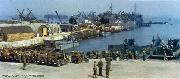 Heavily loaded WW2 Jeeps are placed onboard landing craft for the trip over to Normandy, France. Jeeps are equiped with deep water-fording kits and wire laying spools.