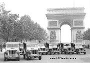 These Ex-Army PRESS Jeeps lined up on the Avenue des Champs-Elysees in Paris were the 1st jeeps sold as surplus in October 1945.