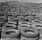 Tires at WWII Jeep and Trailer Salvage Operations, Okinawa, Japan, 1949
