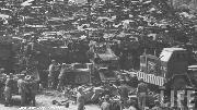 Huge stacks and stacks of war weary Willys MB and Ford GPW World War Two Jeeps await salvage or scrapping in Pusan, Korea in 1960.