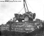 A USMC Jeep being unloaded from a DUKW on Tinian.