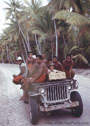 US Navy GPW jeep on atoll, off of Bora Bora, Tahiti, 1944.
